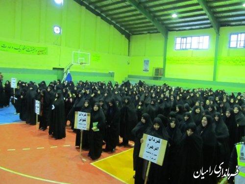 تجمع بزرگ بسیجیان رامیان با شعار لبیک یا خامنه ای لبیک یا حسین است