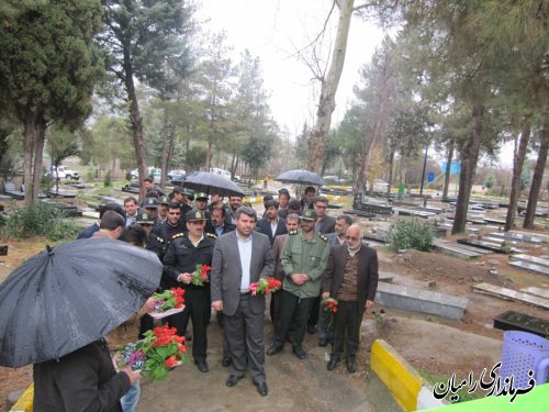 غبار روبی و عطر افشانی گلزار شهدای شهر و شهدای گمنام شهر رامیان