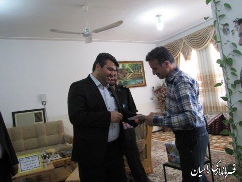 دیدار فرماندار رامیان با معلم جانباز و آزاده