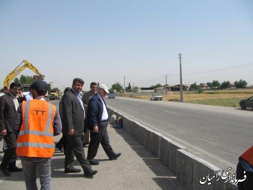 بازدید استاندار از پروژه های در حال اجرای اداره کل راه و شهرسازی در شهرستان رامیان