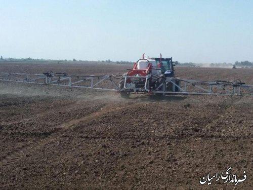 آغاز کشت کلزا در مزرعه نمونه الزهرا شهرستان رامیان