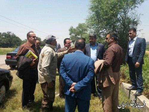 بازدید میدانی فرماندار شهرستان رامیان از کانال انتقال آب فندرسک در زرینگل