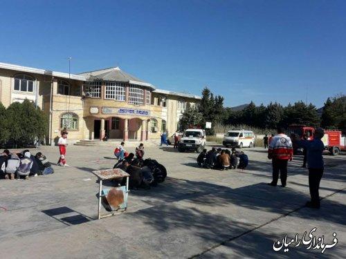 مانور زلزله و ایمنی مدارس همزمان با سراسرکشور در شهرستان رامیان برگزار شد