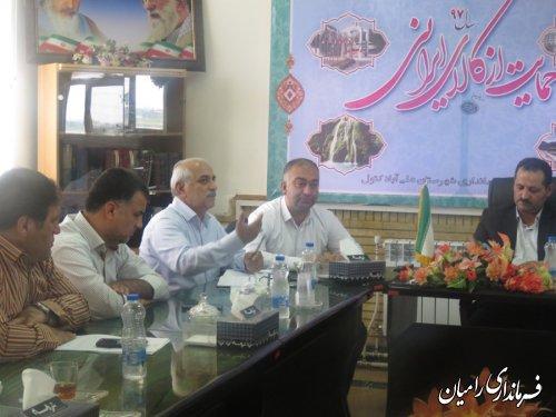 جلسه حل مشکل حق آبه بخش فندرسک در فرمانداری علی آباد کتول