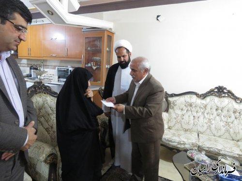 دیدار فرماندار رامیان از مادربزرگوار شهید والامقام کهساری