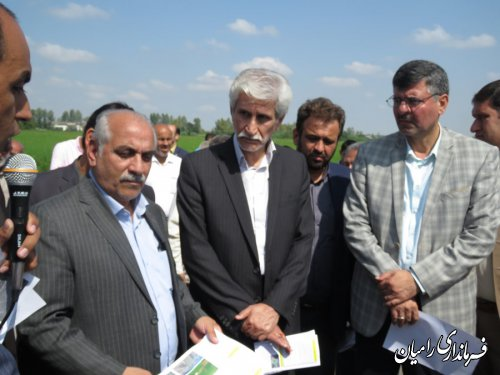 افتتاح پروژه تسطیع و نوسازی اراضی شالیزار روستای شفیع آباد فندرسک شهرستان رامیان