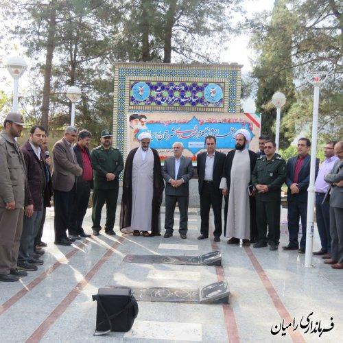 غبار روبی و عطر افشانی گلزار شهدا شهرستان رامیان به مناسبت هفته بسج