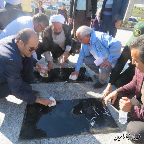 مراسم غبار روبی و عطر افشانی گلزار شهدای گمنام رامیان به مناسبت هفته فرهنگی شهرستان رامیان