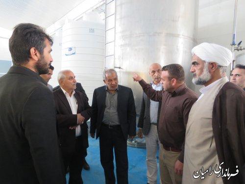 بازدید فرمانداررامیان از کارخانه صنایع  بسته بندی موادغذایی (هما سبز گلستان) در شهرک صنعتی رامیان