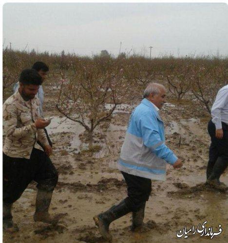 بازدید فرماندار رامیان از خسارات سیل اخیر  درشهرستان رامیان