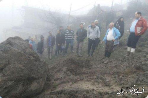 بازدید فرماندار از رانش و لغزش زمین در روستای کشکک شهرستان رامیان