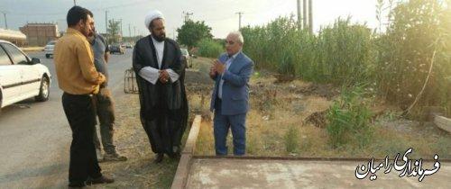 بازدید فرماندار شهرستان رامیان از محل احداث پایه های تابلو یادمان شهدای روستای زینب آباد