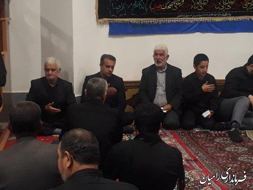 حضور معاون فرماندار رامیان درمراسم عزاداری شب عاشورای حسینی در مسجد جعفری رامیان