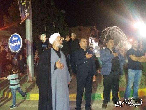 بازدید معاون فرماندار رامیان در شب عاشورای حسینی از تکایاوهیات های مذهبی در سطح شهر رامیان