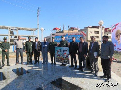 مراسم غبار روبی وعطر افشانی گلزار شهدای گمنام شهرستان رامیان به مناسبت هفته دفاع مقدس برگزار گردید