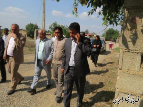 فرماندار شهرستان رامیان از روند اجرایی پروژه زیر سازی وآسفالت معابر روستای امامیه بخش  فندرسک بازدید کردند