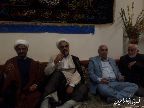 فرماندار شهرستان رامیان در مراسم پرفیض زیارت عاشورا در مسجد جعفری شهر رامیان شرکت کردند