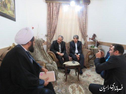دیدار معاون سیاسی، امنیتی و اجتماعی استاندار و سرپرست فرمانداری رامیان از خانواده شهید