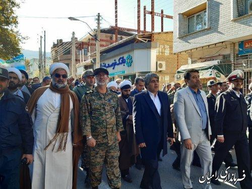 حضور سرپرست فرماندار ی شهرستان رامیان در راهپیمایی مردم شهرستان رامیان در محکومیت از اغتشاشات اخیر