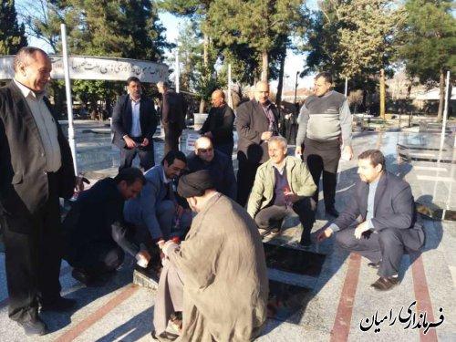 حضور معاون فرماندار به همراه مسئولین شهرستان در مراسم غبار روبی گلزار شهدای شهرستان رامیان به مناسبت چهل و یکمین سالگرد پیروزی انقلاب اسلامی