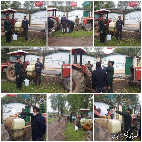 اجرای طرح همزمان عملیات ضدعفونی و گندزدایی روستاهای بخش فندرسک