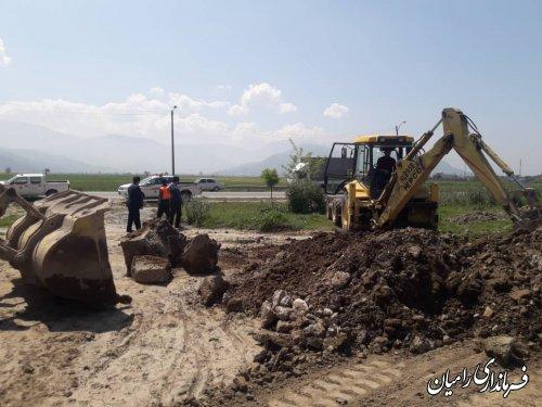 آغاز عملیات اجرایی احداث دور برگردان در محدوده روستای زینب آباد