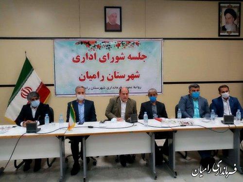 معارفه مهندس جواد صادقلو فرماندار جدید رامیان در جلسه شورای اداری شهرستان