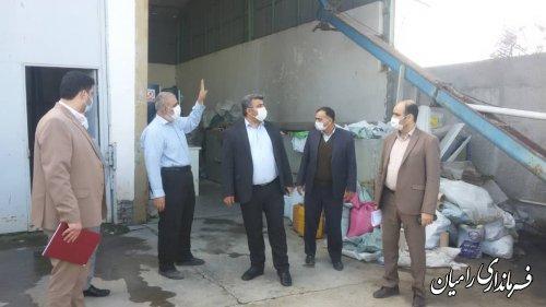 بازدید فرماندار از واحد صنعتی نانو زرین پلاست واقع در روستای میانکاله فندرسک