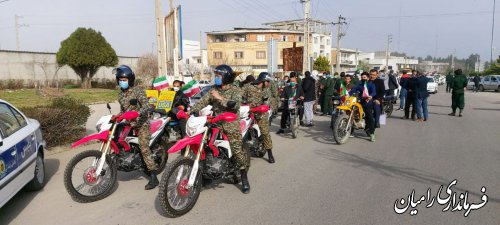 برگزاری راهپیمایی ۲۲ بهمن به صورت خودرویی و موتوری در شهرستان رامیان