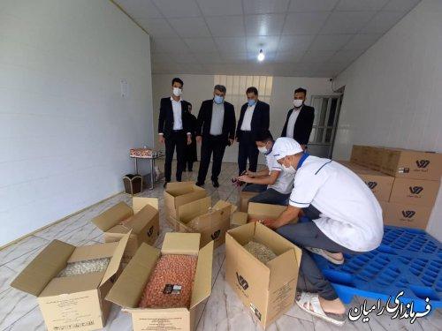 بازدید فرماندار از کارگاه تولید آجیل روکش دار با طعم های مختلف در روستای نامتلو