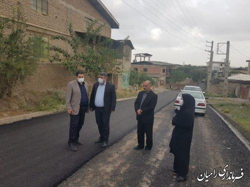 بازدید فرماندار از پروژه در حال اجرا طرح هادی  روستای جعفرآباد نامتلو
